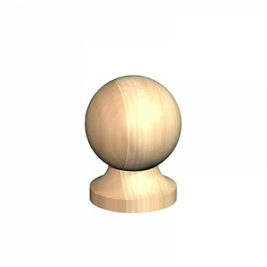 "Birkdale 75mm (3"") Untreated decorative ball and collar finial manufactured from slow grown pine."