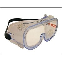 Scan Indirect Vent Safety Goggles are ideal for use with power tools, particularly angle grinders and high powered drills and saws. With lenses made from tough polycarbonate, these goggles will withstand medium energy, high speed impacts of up to 120m/s (270mph). The lenses are clear and UV resistant. These goggles provide excellent protection from liquid droplets or splashes, large dust particles and molten metals. They can be worn over spectacles and the soft vinyl flanges around the goggles ensure comfort and conformity to facial contour.
