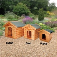 The Puppy dog kennel is our smallest dog kennel at 0.64m long by 0.50m wide by 0.54m high and comes as a flat pack which is easily assembled. It comes complete with all the fixings you will need together with the felt for the roof.