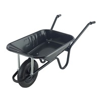 Contractor Black 85ltr Extra Heavy Duty Wheelbarrow Pneumatic Wheel