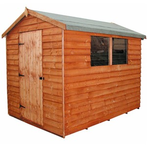 The Cottage Apex Overlap Shed 705 – 2.1 x 1.5m is in our economical, value range and has the advantage of a tongue & grooved door with 3 hinges and hasp and staple lock, close-boarded timber roof & floor, thick overlap cladding, and is constructed using solid 50 x 22mm timber framing to ensure a long life. It is factory treated and stained with a water based red cedar colour treatment, and supplied with heavy 20kg roofing felt, glass, trims and all fixings required to install the building.