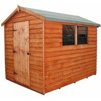 The Cottage Apex Overlap Shed 806 – 2.4 x 1.8m is in our economical, value range and has the advantage of a tongue & grooved door with 3 hinges and hasp and staple lock, close-boarded timber roof & floor, thick overlap cladding, and is constructed using solid 50 x 22mm timber framing to ensure a long life. It is factory treated and stained with a water based red cedar colour treatment, and supplied with heavy 20kg roofing felt, glass, trims and all fixings required to install the building.