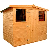 The Dart 2.4x1.8m Apex shed has the advantage of a door with a lock, full tongue and grooved timber floors and roofs, thick 12mm cladding, and are constructed using solid 45x34mm timber framing to ensure a long life. It is factory treated and stained with a water based red cedar colour treatment, and supplied with heavy 20kg roofing felt, glass, trims and all fixings required to install the building.
