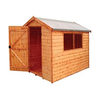 The Norfolk 2.4x1.8m Apex shed has the advantage of a door with a lock, full tongue and grooved timber floors and roofs, thick 12mm cladding, and are constructed using solid 45x34mm timber framing to ensure a long life. It is factory treated and stained with a water based red cedar colour treatment, and supplied with heavy 20kg roofing felt, glass, trims and all fixings required to install the building.