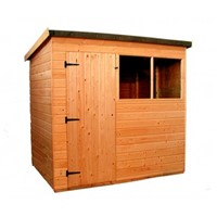 The Suffolk 3.0x2.4m Pent shed has the advantage of a door with a lock, full tongue and grooved timber floors and roofs, thick 12mm cladding, and are constructed using solid 45x34mm timber framing to ensure a long life. It is factory treated and stained with a water based red cedar colour treatment, and supplied with heavy 20kg roofing felt, glass, trims and all fixings required to install the building.