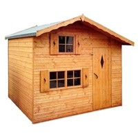 The Ashcroft Two-storey Playhouse 2.4 x 1.8 x 2.3m is an attractive building which has full tongue and grooved timber floors and roofs, thick 12mm cladding, and are constructed using solid 34 x 34mm timber framing to ensure a long life. The single door is 565 x 1525mm and the unit has an eaves height of 1.68 – 1.8m. It is factory treated and stained with a water based red cedar colour treatment, and supplied with heavy 20kg roofing felt, glass, trims and all fixings required to install the building.