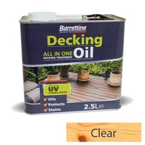 2.5L Clear decking oil all-in-one treatment. Specifically formulated for use on pressure treated and preservative impregnated timber offering superb protection to deck boards, deck tiles and balustrades. Also achieves a superior finish to summerhouses, sheds and fences. Non flaking and its water repellency helps prevent timber from splitting and cracking. UV fade resistant pigments. Contains a surface biocide preserver to protect against mould.