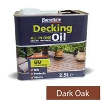 2.5L Dark Oak decking oil all-in-one treatment. Specifically formulated for use on pressure treated and preservative impregnated timber offering superb protection to deck boards, deck tiles and balustrades. Also achieves a superior finish to summerhouses, sheds and fences. Non flaking and its water repellency helps prevent timber from splitting and cracking. UV fade resistant pigments. Contains a surface biocide preserver to protect against mould.