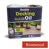 2.5L Rosewood decking oil all-in-one treatment. Specifically formulated for use on pressure treated and preservative impregnated timber offering superb protection to deck boards, deck tiles and balustrades. Also achieves a superior finish to summerhouses, sheds and fences. Non flaking and its water repellency helps prevent timber from splitting and cracking. UV fade resistant pigments. Contains a surface biocide preserver to protect against mould.