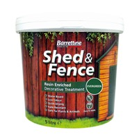 Barrettine 5 Litre Ever Green Shed & Fence is a water based decorative treatment for rough, sawn or smooth timber such as fences, sheds and trellis. The low odour formulation is harmless to plants or pets when dry. Splashes can be easily washed from the leaves of plants to prevent staining. Ideal for use over pre-treated, pressure treated and preservative impregnated timber structures.