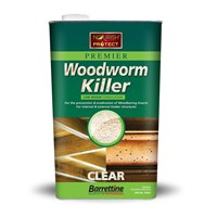 A low odour oil/solvent based product which exterminates and prevents woodworm and wood boring insects from timber. Perfect for treating flooring, structural timber, furnitutre etc. Size: 5L. Colour: Clear.