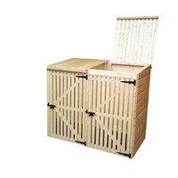 Lawsons Double Binstore 1600 x 870 x 1400mm is ideal for neat storage of a two wheelie bins. The lift-up roof comes slatted as standard but can also be supplied felted. Side cladding is 12mm tongue & grooved shiplap and the front, slatted door, which is lockable, allows good air circulation. The sturdy 45 x 34mm framing gives the whole unit its rigidity despite having no floor. The whole unit comes factory treated with timber preservative to ensure longevity of life.