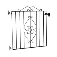 Ascot Single Entrance Metal Gates 910 high x 815 wide come in a Polyester Black on Zinc Plated finish to ensure long life. They have a frame section of 20 x 6mm, 10 x 3mm Scrolls and 10mm infill bars.