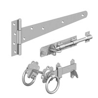 "Galvanised Gatemate side gate kit with ring gate latch. Compromises of: 1 x Pair 18"" Medium Tee Hinges, 1 x 6"" Ring gate latch, 1 x 6"" x ½"" Brenton Padbolt, Fixings to suit."