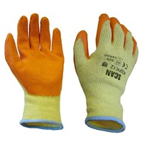 Builders Orange Latex Coated Gloves Size Large