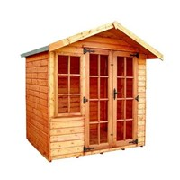 The Clipston 2.1 x 1.8m Summerhouse comes complete with a top quality mortice lock, it has full tongue and grooved timber floors and roofs, thick 15mm interlocking T&G cladding, and are constructed using solid timber framing to ensure a long life. The double doors are 1200 x 1800mm and the unit has an eaves height of 1.8m. It is factory treated and stained with a water based red cedar colour treatment, and supplied with heavy 20kg roofing felt, glass, trims and all fixings required to install the building.