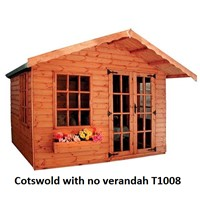 The Cotswold is an attractive Summerhouse 2.4 x 3.0m which comes complete with a mortice lock, it has full tongue and grooved timber floors and roofs, thick 15mm cladding, and are constructed using solid 45 x 34mm timber framing to ensure a long life. The double doors are 1200 x 1800mm and the unit has an eaves height of 1.8m. It is factory treated and stained with a water based red cedar colour treatment, and supplied with heavy 20kg roofing felt, glass, trims and all fixings required to install the building.