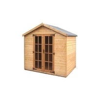 "The Cottingham 2.4 x 2.4m Summerhouse is great value and comes complete with a top quality mortice lock, it has full tongue and grooved timber floors and roofs, thick 12mm interlocking T&G cladding, and are constructed using solid timber framing 45 x 34mm to ensure a long life. The doors are 1200 x 1800mm and the unit has an eaves height of 1.68m. It is factory treated and stained with a water based red cedar colour treatment, and supplied with heavy 20kg roofing felt, glass, trims and all fixings required to install the building.<hr><div class=""row productCode""><div class=""col-xs-6 col-md-3 col-lg-3""><p class=""form-control-static""><strong>Status:</strong></p></div><div class=""col-xs-6 col-md-7 col-lg-7""><span><p class=""form-control-static"">Approximately 3 week lead time</p></span></div></div><hr>"