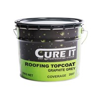 Cure It 10kg graphite grey with a coverage of 25m2. Roofing Topcoat provides the finished colour and surface appearance.