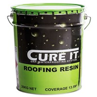 Cure It Roofing Resin in 20kg tub is a component part of single-ply GRP laminate system consisting of Roofing Resin and Reinforcement Mat which is applied in situ over a good quality OSB3 deck. The roof is finished with pre-formed GRP edge trims and a coat of pre-pigmented topcoat.
