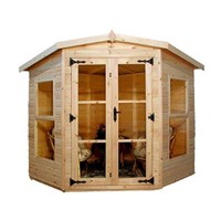 The Devon 2.7 x 2.7m Summerhouse comes complete with a top quality mortice lock, it has full tongue and grooved timber floors and roofs, thick 15mm interlocking T&G cladding, and are constructed using solid timber framing to ensure a long life. The double doors are 1200 x 1800mm and the unit has a height of 1.8 -2.0m. It is factory treated and stained with a water based red cedar colour treatment, and supplied with heavy 20kg roofing felt, glass, trims and all fixings required to install the building.
