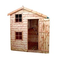 The Elmcroft Two-storey Playhouse 1.8 x 1.8 x 2.2m is an attractive building which has full tongue and grooved timber floors and roofs, thick 12mm cladding, and are constructed using solid 34 x 34mm timber framing to ensure a long life. The single door is 600 x 1150mm and the unit has an eaves height of 1.68 – 1.8m. It is factory treated and stained with a water based red cedar colour treatment, and supplied with heavy 20kg roofing felt, glass, trims and all fixings required to install the building.