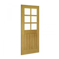Ely 6L Glazed Internal Unfinished Oak Door 2040x826x40mm