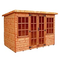 "The Farndon 3.6 x 2.4m Summerhouse comes complete with a top quality mortice lock, it has full tongue and grooved timber floors and roofs, thick 15mm interlocking T&G cladding, and are constructed using solid timber framing to ensure a long life. The double doors are 1200 x 1800mm and the unit has an internal height of 1.8 – 1.98m. It is factory treated and stained with a water based red cedar colour treatment, and supplied with heavy 20kg roofing felt, glass, trims and all fixings required to install the building.<hr><div class=""row productCode""><div class=""col-xs-6 col-md-3 col-lg-3""><p class=""form-control-static""><strong>Status:</strong></p></div><div class=""col-xs-6 col-md-7 col-lg-7""><span><p class=""form-control-static"">Approximately 3 week lead time</p></span></div></div><hr>"