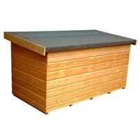 Lawsons Garden Chest 1500 x 900mm has a sloping, heavy duty felted, lift-up roof and Cladding is 12mm thick tongue & grooved shiplap and the whole product is factory treated to prevent timber decay. The 45 x 34mm framing makes this unit very sturdy and ideal for storing, neatly away, those garden tools and varied outdoor items.