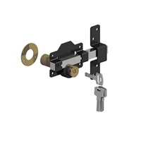Birkdale 70mm Premium Rimlock Double Locking Bolt is designed to secure your gate. It has the advantage of a long throw bolt which locates in the keep on the gate post. Timber gates and posts can swell and contract throughout the season so using this product which accepts a degree of movement is a perfect solution. It is finished in epoxy black with a stainless steel bolt, a brass locking mechanism and supplied with 5 keys.