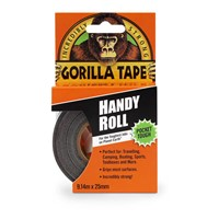 Gorilla 9m Length black handy tape roll. Made with double thick adhesive, strong reinforced backing, and a tough all-weather shell. It sticks to rough and uneven surfaces, including wood, stone, stucco and brick, that ordinary tapes can't hold.