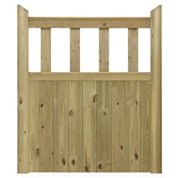 "The Hampton is a classic garden gate mainly tongue & groove match boarded, with vertical pales adding height and allowing an open feel to the garden. It also features chamfering along both the top and mid rails allowing the rain to run off. This good value gate is made from Scandinavian kiln dried softwood which is pressure treated for durability. With a height of 3'6"" (1.067m) the Hampton is 3' (915mm) wide."