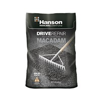 Hanson Drive Repair Macadam is sold in a handy 25kg polythene bag and easy to lay by raking and lightly compacting. It is ideal for those temporary repairs to driveways and foot paths.