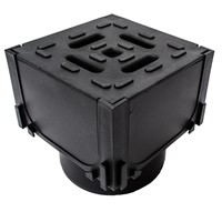 Aco Hexdrain Corner unit with black plastic grating as well as vertical outlet.