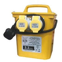 Our 3.3kva 2x16 PTR Transformer is a trade rated portable transformer used for stepping down UK mains voltage (240v) to 110V CTE (centre tap earthed) site safety supply. This transformer is most commonly used for 110volt construction industry power tools and lighting. Designed in accordance with IP44 rating they are suitable for intermittent running of power tools and continuous running of lighting products within specified capacity.