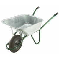 Our 120 litre Galvanised Heavy Duty Wheelbarrow with pneumatic tyre is our most robust barrow suitable for those heavier site clearance jobs. It has a heavy duty pressed pan with extra strong rolled edges, tubular framework and pneumatic tyre to ensure a smooth ride. Being galvanised will ensure years of active live requiring very little maintenance, just the occasional squirt of oil.