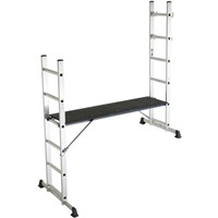 The Lyte HD628 5 way system combines 2 single ladders, an extension ladder, a step ladder, a work platform and stairway ladder and platform all in one.  Quick and easy to setup the ladder comes with a Handrail for added safety and the platform is non slip. Maximum permissible load is 150kg.