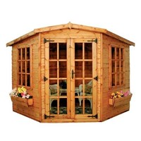 The Lincoln 2.7 x 2.7m Summerhouse comes complete with a top quality mortice lock, it has full tongue and grooved timber floors and roofs, thick 15mm interlocking T&G cladding, and are constructed using solid timber framing to ensure a long life. The double doors are 1200 x 1800mm and the unit has an eaves height of 2.0m. It is factory treated and stained with a water based red cedar colour treatment, and supplied with heavy 20kg roofing felt, glass, trims and all fixings required to install the building.