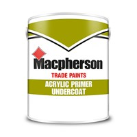 Macpherson 5 litre white water-based acrylic primer undercoat is quick drying and offers superb opacity and no residual odour. Perfect for interior priming of hardwoods, softwoods, hardboards and as an undercoat for interior gloss finishes.