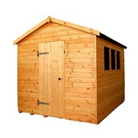 The Major Apex 2.4 x 1.8m shed has the advantage of a door with a Rim Lock, full tongue and grooved timber floors and roofs, thick 15mm cladding, and are constructed using solid 60 x 50mm timber framing to ensure a long life. The single door is 790 x 1850mm and the unit has an eaves height of 1.98m. It is factory treated and stained with a water based red cedar colour treatment, and supplied with heavy 20kg roofing felt, glass, trims and all fixings required to install the building.