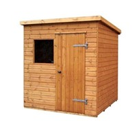 The Major Pent 2.4 x 1.8m shed has the advantage of a door with a Rim Lock, full tongue and grooved timber floors and roofs, thick 15mm cladding, and are constructed using solid 60 x 50mm timber framing to ensure a long life. The single door is 790 x 1850mm and the unit has an eaves height of 1.98 – 2.1m. It is factory treated and stained with a water based red cedar colour treatment, and supplied with heavy 20kg roofing felt, glass, trims and all fixings required to install the building.