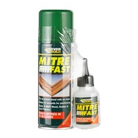 Everbuild mitre fast bonding standard kit is a two pack system containing an adhesive and an aerosol activator. Used primarily for instant bonding (10 seconds) of wooden mitre joints, however, has various other uses and applications.