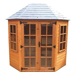 The Oakdale 2.4 x 1.8m Summerhouse comes complete with a top quality mortice lock, it has full tongue and grooved timber floors and roofs, thick 15mm interlocking T&G cladding, and are constructed using solid timber framing to ensure a long life. The doors are 1200 x 1800mm and the unit has an eaves height of1.98m. It is factory treated and stained with a water based red cedar colour treatment, and supplied with heavy 20kg roofing felt, glass, trims and all fixings required to install the building.