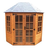 "The Oakdale 2.4 x 1.8m Summerhouse comes complete with a top quality mortice lock, it has full tongue and grooved timber floors and roofs, thick 15mm interlocking T&G cladding, and are constructed using solid timber framing to ensure a long life. The doors are 1200 x 1800mm and the unit has an eaves height of1.98m. It is factory treated and stained with a water based red cedar colour treatment, and supplied with heavy 20kg roofing felt, glass, trims and all fixings required to install the building.<hr><div class=""row productCode""><div class=""col-xs-6 col-md-3 col-lg-3""><p class=""form-control-static""><strong>Status:</strong></p></div><div class=""col-xs-6 col-md-7 col-lg-7""><span><p class=""form-control-static"">Approximately 3 week lead time</p></span></div></div><hr>"