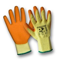 Pair of Orange knitted gloves features seamless a premium knitted poly-cotton yarn and a palm coating in premium crinkle Latex. Offers great grip, dexterity and breathability.