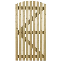 The Orchard is a curved top slatted gate which is ledged and multi braced. Supplied in kiln dried softwood and pressure treated for durability. It has a smooth finish and is 0.915m wide with a height of 1.83m.