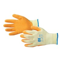 OX size 10 (X-Large) seamless poly-cotton latex grip gloves have been manufactured to reduce hand fatigue whilst providing protection. Featuring an ergonomic open back for optimum ventilation.