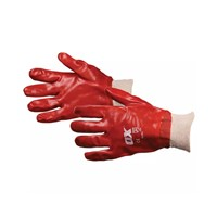 Fully coated red PVC cotton glove to protect against oil, grease and most household chemicals. Resistant to abrasion and tears. Knitted wristband protects against dust and infiltration. Conforms to EN388 standards. Size: Large (L)