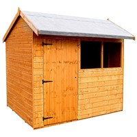 The Pytchley Offset Roof Apex Shed 705 – 2.1 x 1.5m has the advantage of a fully framed, ledged & braced door with a lock and is hung on 3 hinges. The floors & roof with 300mm overhang are constructed from tongue and grooved timber, cladding is 12mm thick shiplap, and frame is constructed using solid 45x34mm timber to ensure a long life. It is factory treated and stained with a water based red cedar colour treatment, and supplied with heavy 20kg roofing felt, glass, trims and all fixings required to install the building.