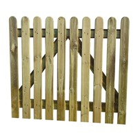 900mm (3ft) High Round Top Pale 1.0m Wide Palisade Gate.  Can be known as Picket Fence Gate.  This sturdy gate offers years of life as is manufactured using best quality treated softwood to prevent decay and rotting. Don't forget to order Hinges & Latch.